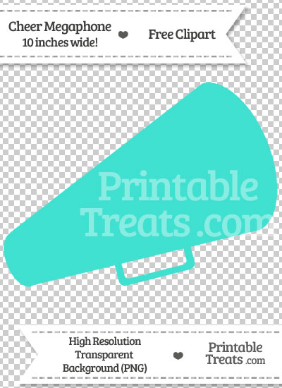Turquoise Cheer Megaphone Clipart from PrintableTreats.com