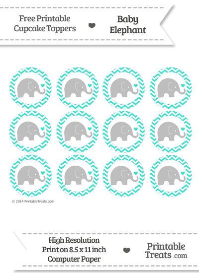 Turquoise Chevron Baby Elephant Cupcake Toppers from PrintableTreats.com