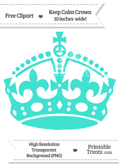 Turquoise Keep Calm Crown Clipart from PrintableTreats.com