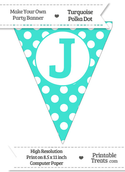 Turquoise Polka Dot Pennant Flag Capital Letter J from PrintableTreats.com