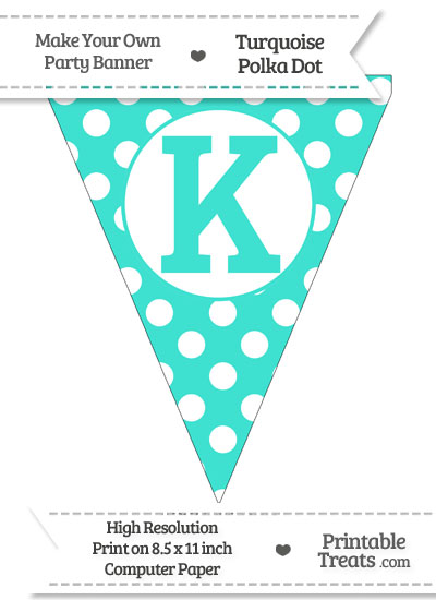 Turquoise Polka Dot Pennant Flag Capital Letter K from PrintableTreats.com