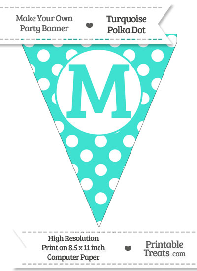 Turquoise Polka Dot Pennant Flag Capital Letter M from PrintableTreats.com