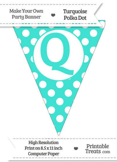 Turquoise Polka Dot Pennant Flag Capital Letter Q from PrintableTreats.com