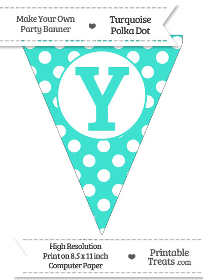 Turquoise Polka Dot Pennant Flag Capital Letter Y from PrintableTreats.com