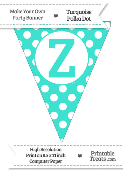 Turquoise Polka Dot Pennant Flag Capital Letter Z from PrintableTreats.com