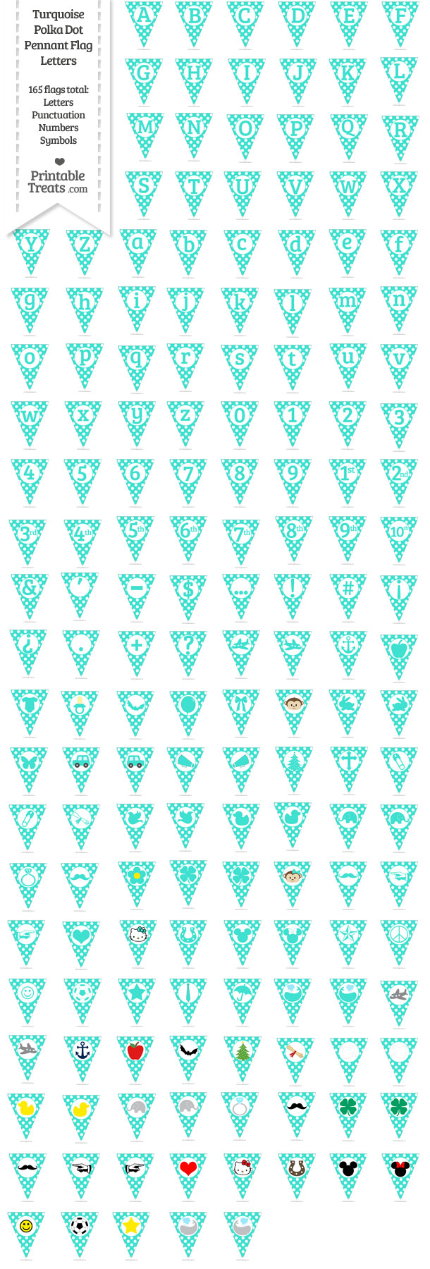 Turquoise Polka Dot Pennant Flag Letters Download from PrintableTreats.com
