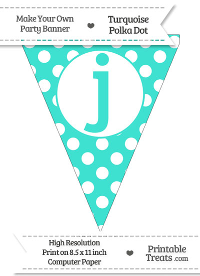 Turquoise Polka Dot Pennant Flag Lowercase Letter J from PrintableTreats.com