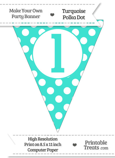 Turquoise Polka Dot Pennant Flag Lowercase Letter L from PrintableTreats.com