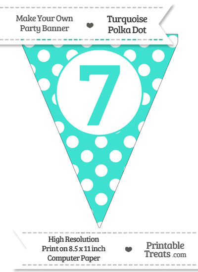 Turquoise Polka Dot Pennant Flag Number 7 from PrintableTreats.com