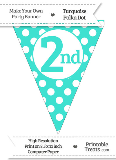 Turquoise Polka Dot Pennant Flag Ordinal Number 2nd from PrintableTreats.com