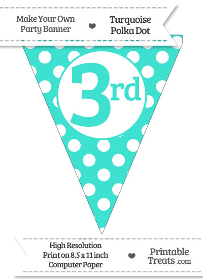Turquoise Polka Dot Pennant Flag Ordinal Number 3rd from PrintableTreats.com