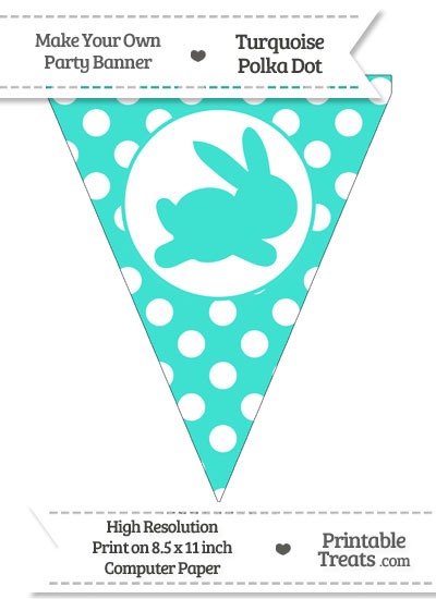 Turquoise Polka Dot Pennant Flag with Bunny Facing Right from PrintableTreats.com