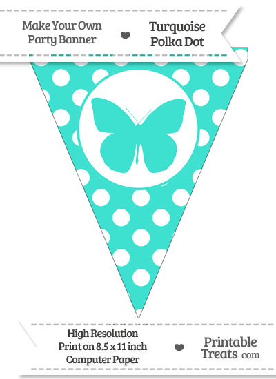 Turquoise Polka Dot Pennant Flag with Butterfly from PrintableTreats.com