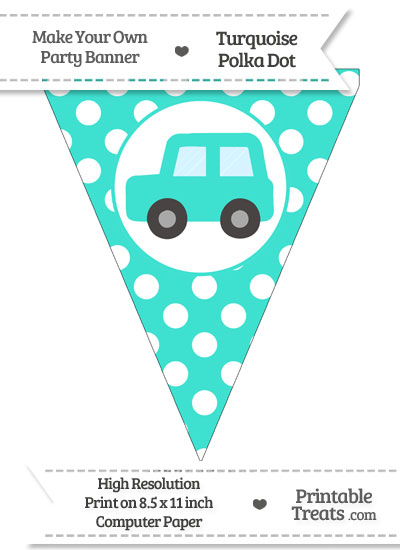 Turquoise Polka Dot Pennant Flag with Car Facing Left from PrintableTreats.com