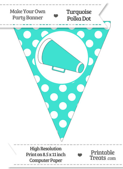 Turquoise Polka Dot Pennant Flag with Cheer Megaphone Facing Left from PrintableTreats.com