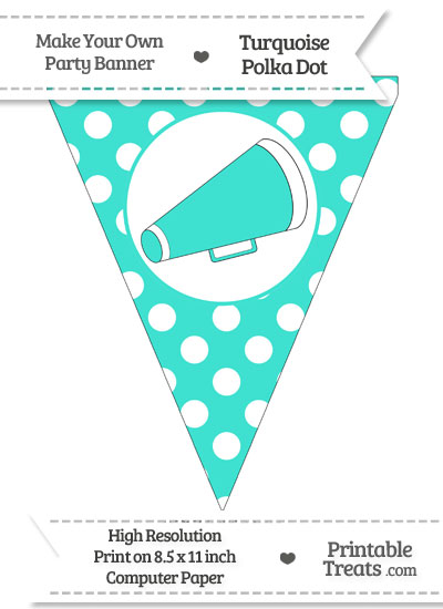 Turquoise Polka Dot Pennant Flag with Cheer Megaphone Facing Right from PrintableTreats.com