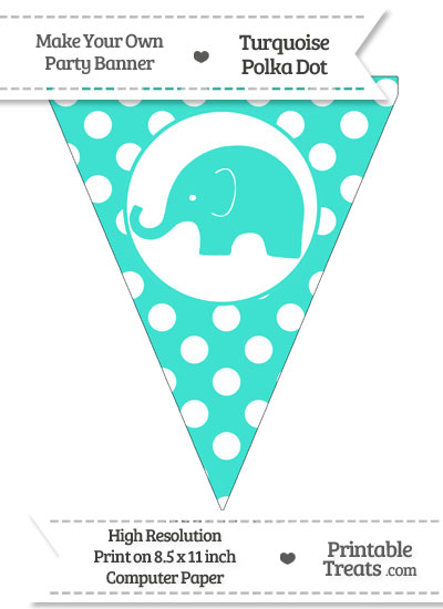 Turquoise Polka Dot Pennant Flag with Elephant Facing Left from PrintableTreats.com