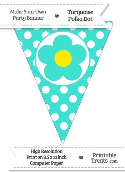 Turquoise Polka Dot Pennant Flag with Flower from PrintableTreats.com