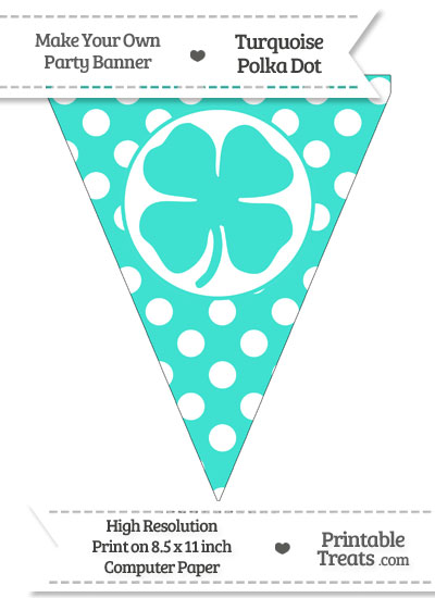 Turquoise Polka Dot Pennant Flag with Four Leaf Clover Facing Right from PrintableTreats.com