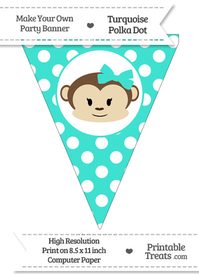 Turquoise Polka Dot Pennant Flag with Girl Monkey from PrintableTreats.com