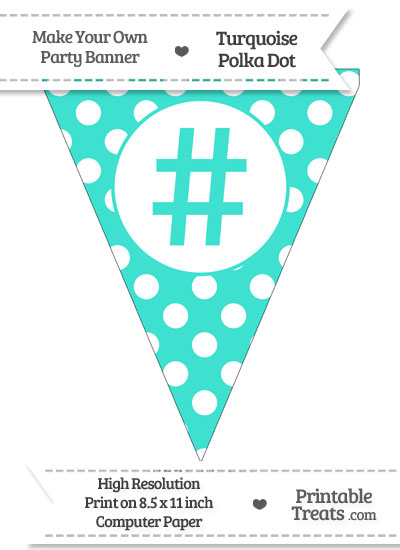 Turquoise Polka Dot Pennant Flag with Hash Character from PrintableTreats.com