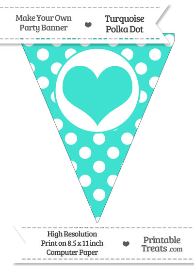 Turquoise Polka Dot Pennant Flag with Heart from PrintableTreats.com