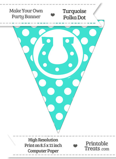 Turquoise Polka Dot Pennant Flag with Horseshoe from PrintableTreats.com