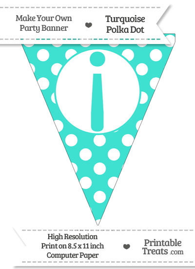 Turquoise Polka Dot Pennant Flag with Inverted Exclamation Mark from PrintableTreats.com