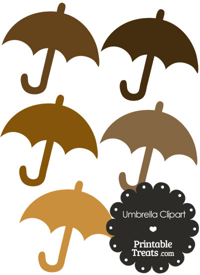 Umbrella Clipart in Shades of Brown from PrintableTreats.com
