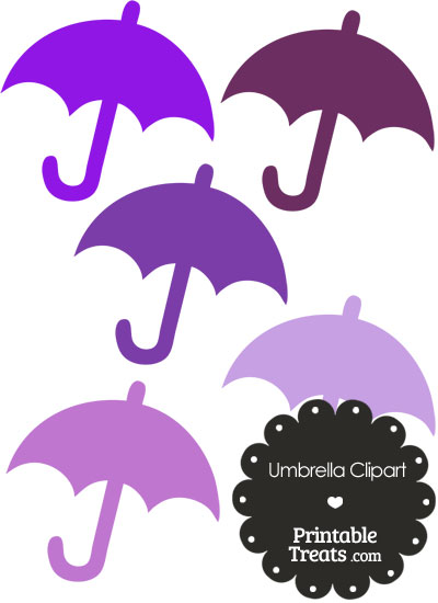 Umbrella Clipart in Shades of Purple from PrintableTreats.com