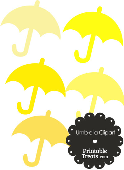 Umbrella Clipart in Shades of Yellow from PrintableTreats.com