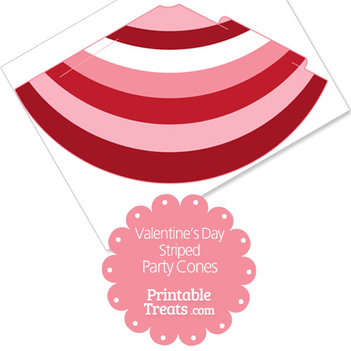 Valentines Day striped party cones