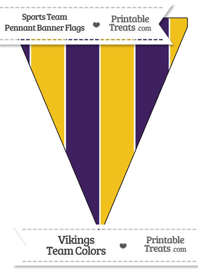 Vikings Colors Pennant Banner Flag from PrintableTreats.com