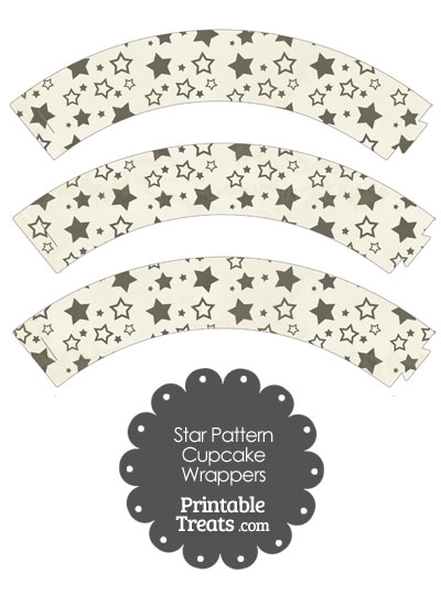 Vintage Black Star Pattern Cupcake Wrappers from PrintableTreats.com
