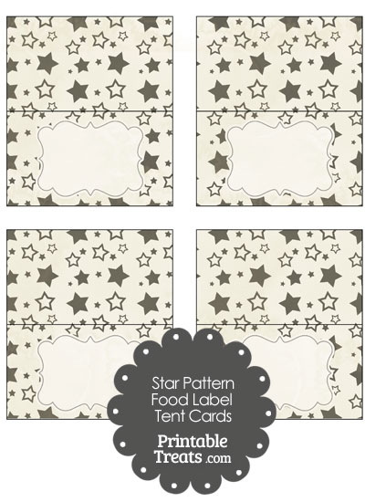 Vintage Black Star Pattern Food Labels from PrintableTreats.com