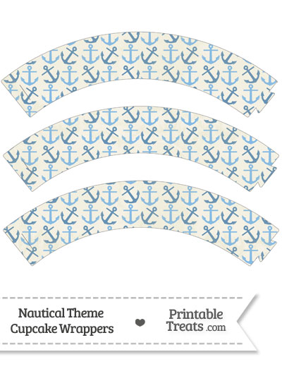 Vintage Blue Anchors Cupcake Wrappers from PrintableTreats.com