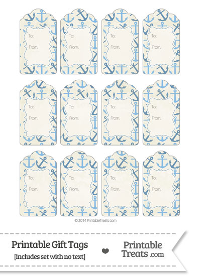 Vintage Blue Anchors Gift Tags from PrintableTreats.com