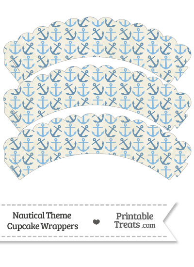 Vintage Blue Anchors Scalloped Cupcake Wrappers from PrintableTreats.com