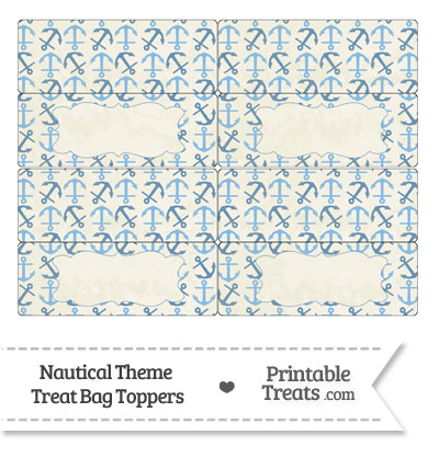 Vintage Blue Anchors Treat Bag Toppers from PrintableTreats.com