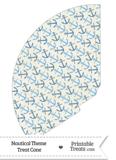 Vintage Blue Anchors Treat Cone from PrintableTreats.com