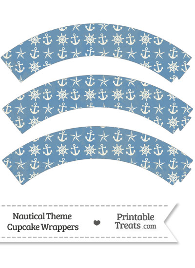 Vintage Blue Nautical Cupcake Wrappers from PrintableTreats.com