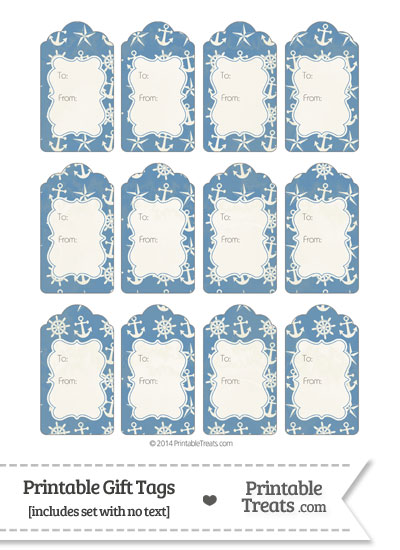Vintage Blue Nautical Gift Tags from PrintableTreats.com