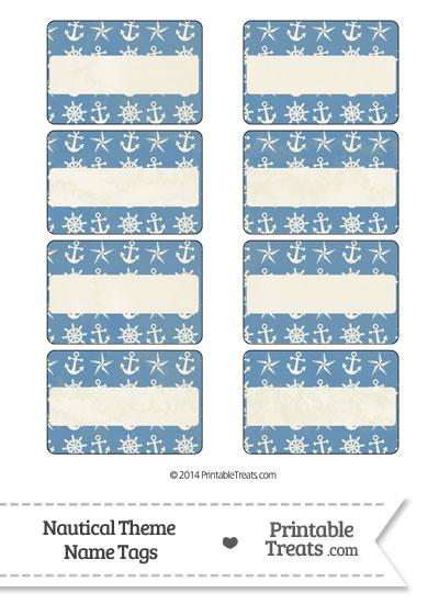 Vintage Blue Nautical Name Tags from PrintableTreats.com