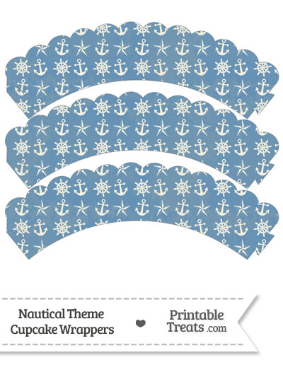 Vintage Blue Nautical Scalloped Cupcake Wrappers from PrintableTreats.com