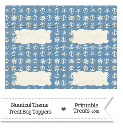 Vintage Blue Nautical Treat Bag Toppers from PrintableTreats.com