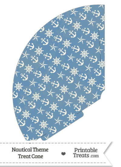 Vintage Blue Nautical Treat Cone from PrintableTreats.com