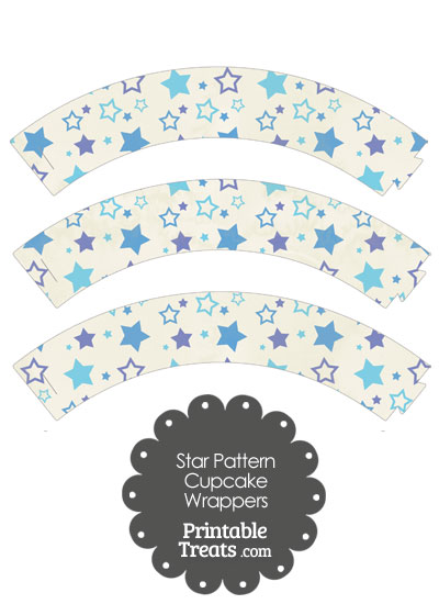 Vintage Blue Star Pattern Cupcake Wrappers from PrintableTreats.com