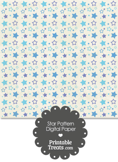 Vintage Blue Star Pattern Digital Scrapbook Paper from PrintableTreats.com