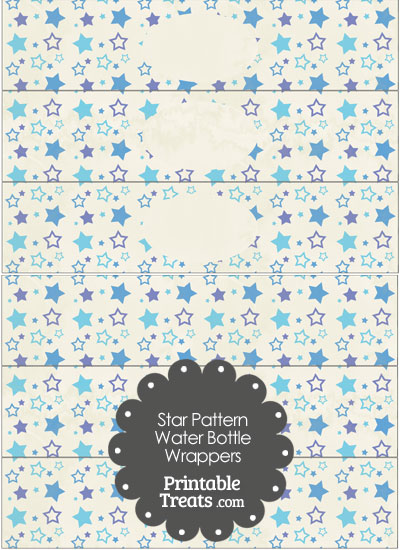 Vintage Blue Star Pattern Water Bottle Wrappers from PrintableTreats.com