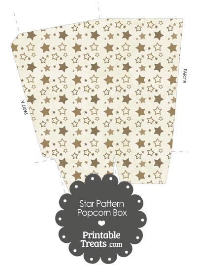 Vintage Brown Star Pattern Popcorn Box from PrintableTreats.com
